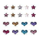 PandaHall Parche de Lentejuelas Heart Star de 20 Piezas, Parche Cosido en Parches de Lentejuelas Reversibles con Apliques para Chaquetas, Jeans, Camisetas, Ropa, Sombrero, Bolso
