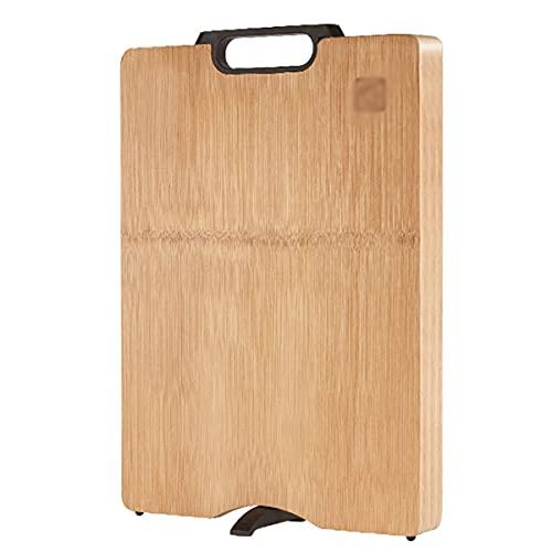 SjYsXm Tabla de Cortar de bambú, Tabla de Cortar con Mango de Carbono y Base de Drenaje, Tabla de Cortar Espesa Reversible en la Cocina del hogar, Tabla de Cortar Carne fácil de Limpiar
