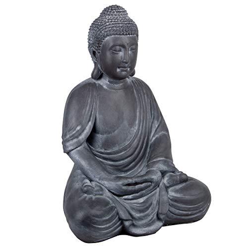 RM E-Commerce Statuette de Bouddha - Sculpture noire en polyrésine - Figurine décorative pour le jardin - 69 cm