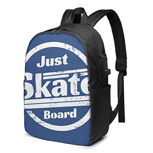 Laptop Rucksack Business Rucksack für 17 Zoll Laptop, Skate Skateboard Skateboarding Schulrucksack Mit USB Port für Arbeit Wandern Reisen Camping, für Herren Damen