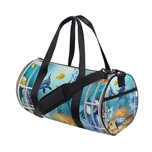 Ahomy Sporttasche Gym Bag 3D Meer Delfin Fisch Schildkröte Fenster Leichte Reisetasche Rucksack Wochenende Tasche