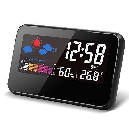 Reloj Despertador Digital Multifunción de Hora, Fecha Temperatura, Porcentaje de Humedad, Reloj Despertador con Pantalla a Color,...