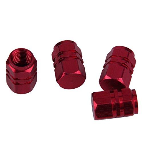 HermosaUKnight 4 Piezas de Aluminio para Coche, camión, Bicicleta, neumático, Llantas, Llantas, válvula de Aire, vástago, Tapas, Cubierta (Rojo)