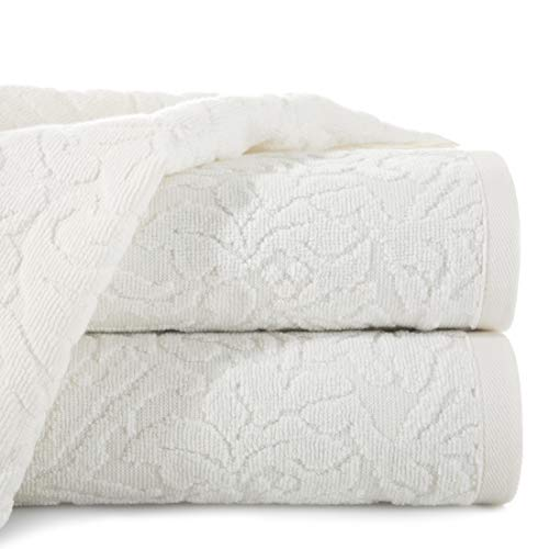 Eurofirany handdoek katoen zacht 70x140 cm Marokkaans patroon borduurset 3-pack Oeko-Tex, crème, 70x140cm, 3
