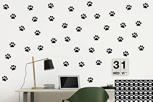 Kleb-drauf® - 40 Pfoten/Schwarz - glänzend - Aufkleber zur Dekoration von Wänden, Glas, Fliesen und Allen Anderen glatten Oberflächen im Innenbereich; aus 19 Farben wählbar; in matt oder glänzend