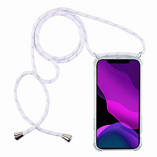 2ndSpring Funda con Cuerda Compatible con Samsung Galaxy J7 2016/J710,Colgante Collar Correa de Cuello Cadena Cordón,Blanco Plata