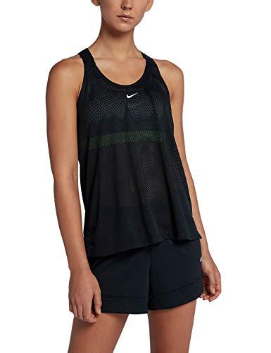 Nike W Nk Tank Elstka Mesh, Camiseta Deportiva de Tirantes para Mujer, Negro Black/White 010, Large
