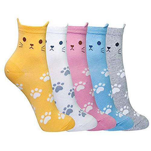 nuoshen 5 pares de calcetines de gato para mujeres y niñas, divertidos calcetines de...