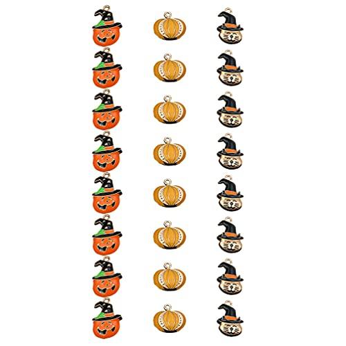 WINOMO 24 Piezas DIY Halloween Calabaza Colgante Aleación Goteo Aceite Orejeras Colgante ( 3 Estilos )