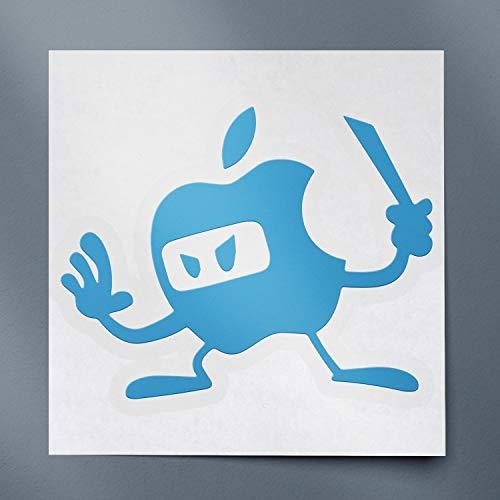 USC DECALS Apple Ninja Comic (Azure Blue) (Set of 2) Premium Waterproof Vinyl Decal Stickers for Laptop Phone Accessory Helmet Car Window Bumper Mug Tuber Cup Door Wall Decoration