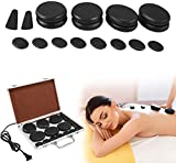 Electric Hot Stone Massage Set, Basalt Hot Stones Set Hot Rocks Massage Stones Kit with Heater Box for Professional or Home spa, Relaxing, Healing, Pain Relief (18PCS)