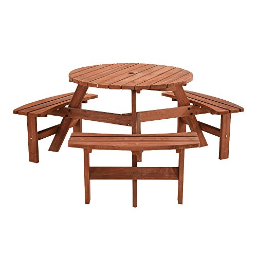 Britoniture 6 Seater Wooden Round Picnic Table and Bench for Garden Pub Patio