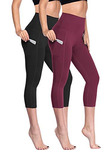 Neleus Women's 2 Pack Capris Leggings Yoga Pants with Two Pockets,109,Black,Wine Red,S