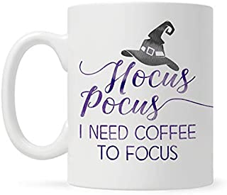Funny Halloween Fall Autumn Season 11oz Coffee Mug, Witch Hocus Pocus I Need Coffee to Focus Gift for Friend, Mom, Sister, Coworker