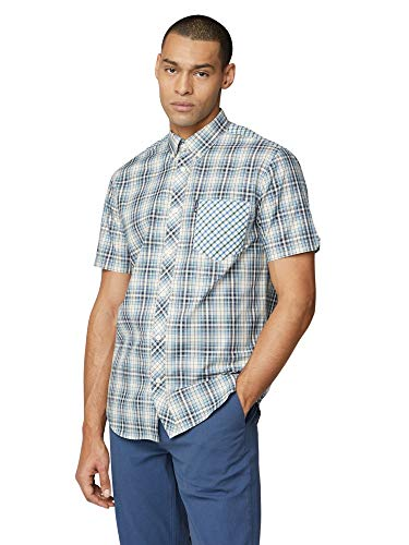 Ben Sherman SS Mixed Check Shirt Camisa, Azul (Blue 150), X-Small para Hombre