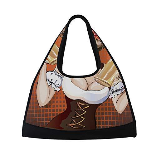 NISENASU Sporttasche,Oktoberfest Frau Bier Pinup Popart Sexy,Neue Sport Reisetaschen Tennisschläger Rucksack Badminton Kurze Reisetaschen tragbare Umhängetasche (20×6.7×18.5 inch)