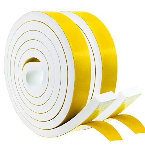 Dichtungsband Selbstklebend, Schaumstoff Dichtungsband Weiß, 20mm(B) x10mm(D), Moosgummi selbstklebend für Tür Fenster, wetterfest, Anti-Kollision, Schalldämmung,(2m Lang...