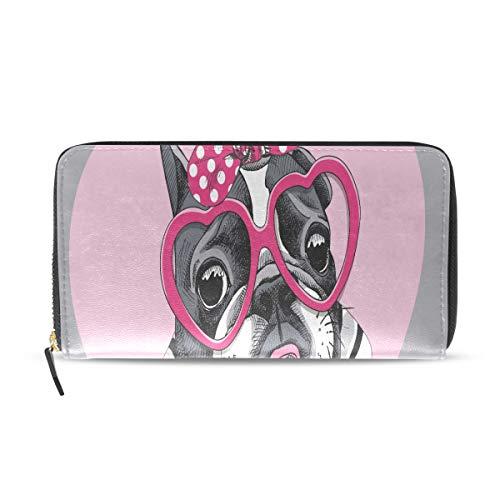 Zippered Wallets For Women Card Valentines Day French Bulldog Striped Long Passport Clutch Purses Zipper Wallet Case Handbag Money Bag For Lady Women Girl Wallet Girls