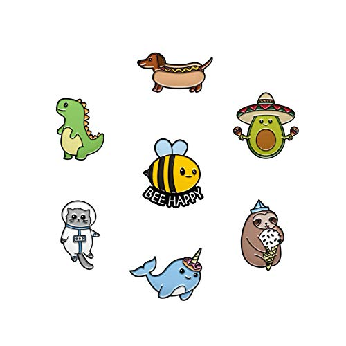 7 Cute Pins for Kids - Enamel Pins for Backpacks Cute Pins for Jackets Enamel Pin Set for Bookbags Dinosaur Lapel Pin & Other Animal Enamel Pins Included (Set 8)