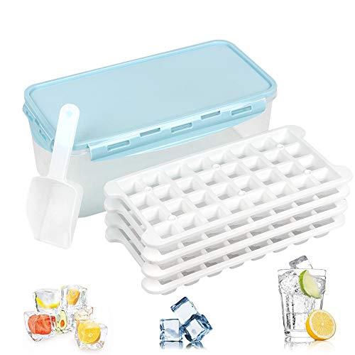 UHAPEER Bandejas Hielo, Ice Mold Cube Silicona con Almacenaje Cubitera y Pala, para Bebés,Cola,Cócteles,Whisky