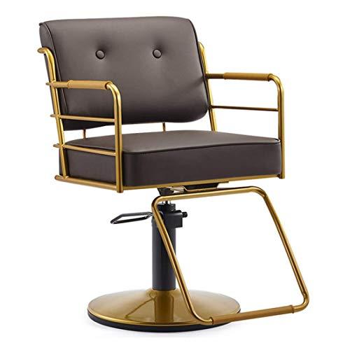 Z-Color Silla de Peluquero reclinable hidráulica de la Mano del Artista 360 Grados Giratorio sillas de Peluquero Equipo de peluquería, Azul Claro (Color : Brown)