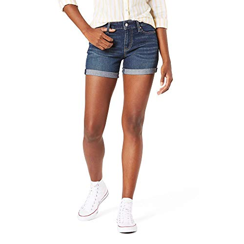 Signature by Levi Strauss & Co. Gold Label Women's Mid-Rise Shorts, Blue Laguna-Waterless, 12