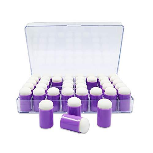 Fingerschwamm mit Aufbewahrungsbox, 40 Stück, zum Malen, Zeichnen, Tusche, Basteln, Kreide, Kartenherstellung, Kinder-Bastelarbeiten (lila)