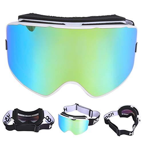 FOLOSAFENAR Prácticas y duraderas Gafas antivaho de Doble Capa antiviento para Deportes al Aire Libre para Esquiar(White Frame Gold)