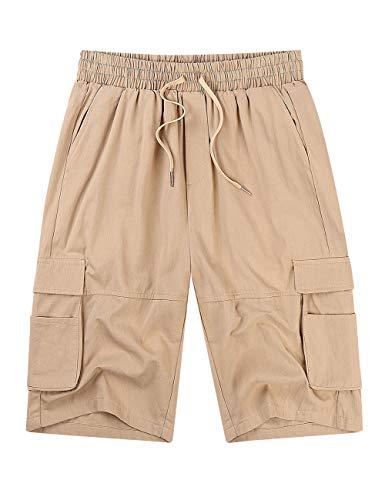 KUULEE Men's Cargo Shorts Elastic Waist Drawstring Relaxed Fit Multi-Pockets Outdoor Casual Shorts Khaki