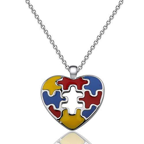 Autism Necklace Autism Awareness Puzzle Piece Charm Heart Pendant Necklace Asperger Awareness Jewelry Gift for Autism Children Autism Mom Autism Teacher Autistic Girl (colorful)