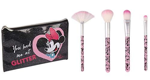 Disney Minnie Mouse Juego de Brochas de Maquillaje, Incluye Neceser y Brochas,...