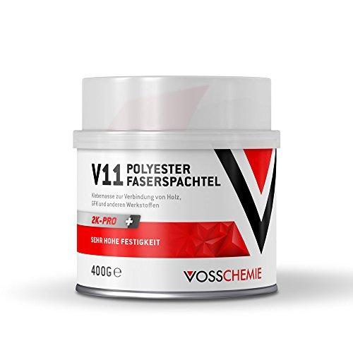 Vosschemie V11 Glasfaserspachtel 400g - 2K Polyesterspachtelmasse mit Glasfasern verstärkter Faserspachtel