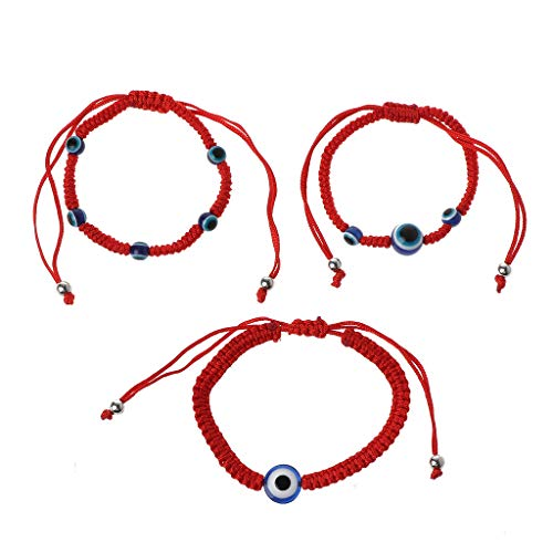 Pulsera de cuerda roja, pulsera de mal de ojo, 3 piezas de protección contra el mal de ojo turco azul Kabbalah, cadena roja, pulsera de la suerte