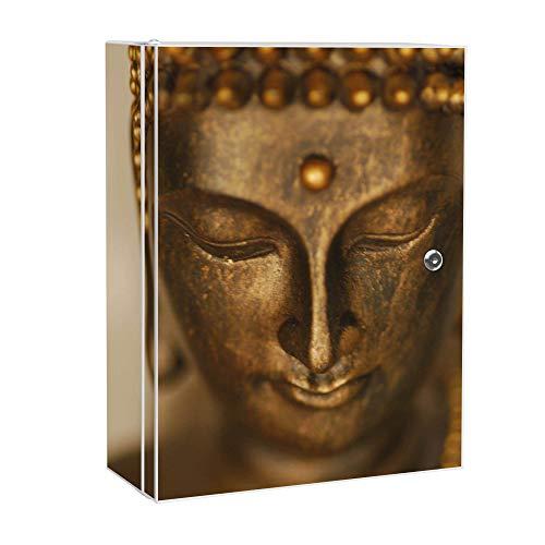 banjado XXL Medizinschrank abschliessbar | großer Arzneischrank 35x46x15cm | Medikamentenschrank aus Metall weiß | Motiv Buddha Gold mit 2 Schlüsseln | Gestaltung auf Front und Seiten