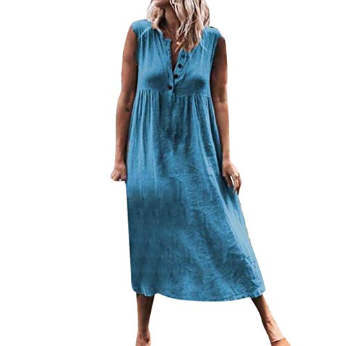 Why Should You Buy Bokeley Women Plue Size Dress, Casual V Neck Blutton Sleeveless Beach Maxi Dresse...
