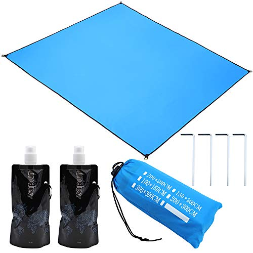 NewZC 200 x 200 cm gran manta de camping Set impermeable playa playa libre de arena toalla de playa con bolsa y 2 saco de agua plegable ultraligero playa playa Diseño portátil – Azul