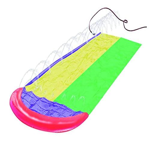 MWXFYWW Rasen-Wasserrutsche, Riese-Dickerer Rutsche Wassermatte mit Wassersprühfunktion, Strapazierfähigem PVC Slip und Slide, Doppel Wasserrutsche Spray Sommerspielzeug Für Draußen