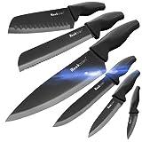 Wanbasion 6 Pezzi Set di coltelli da Cucina Professionali Chef, Set di coltelli Acciaio Inox Nero, Set di Coltelli da Cucina Lavabile in Lavastoviglie Cuoco