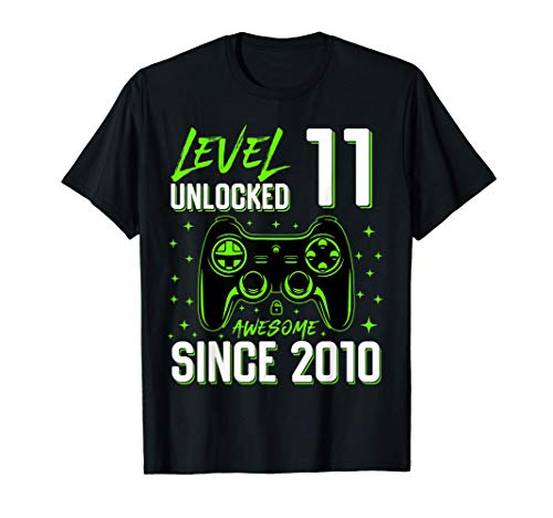 Teenager Level 11 Unlocked Awesome Since 2010 Gamer Gift Boy T-Shirt