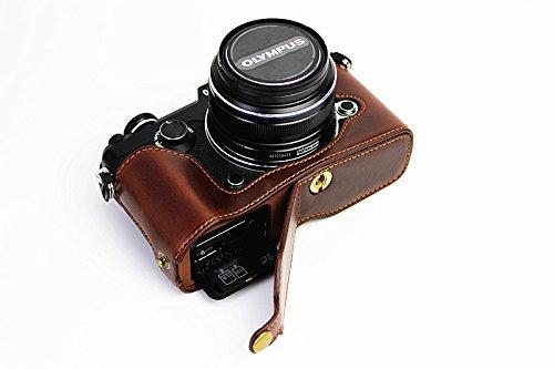Apertura Inferior Versión protección PU Medias de la Cubierta del Bolso del Caso de la cámara con trípode Diseño para Olympus Pen-F, con Cuero de la PU Correa de Mano de Brown Oscuro