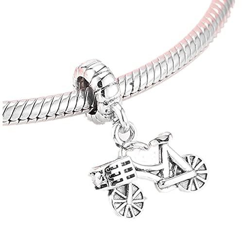 LISHOU DIY Regalo Plata De Ley 925 Elegante Bicicleta Rosa Cz Abalorios Encantos Joyería Que Se Ajusta A Pulseras Originales Brazaletes Colgante D4