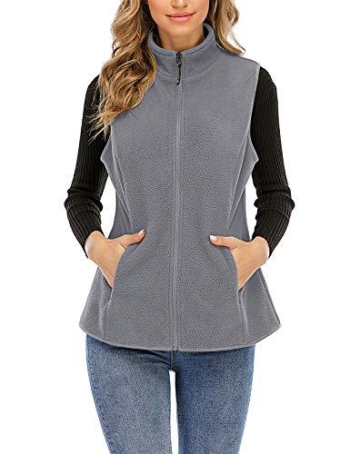 Nekosi Chaleco de forro polar para mujer con cuello alto, chaqueta exterior, cremallera y bolsillos 06-gris claro L