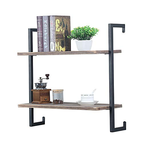Industrial Metal and Wood Wall Shelf Unit,Rustic Floating Wood Shelves Wall Mounted,24in Iron Real Reclaimed Wood Book Shelves,Hanging Wall Shelves for Bedrooms Office,2 Tier Bookshelf Shelving