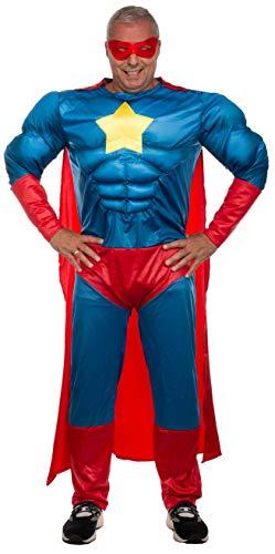 Brandsseller Herren Kostüm Superheld Karneval Party Junggesellenabschied Verkleidung OneSize/Einheitsgröße Blau