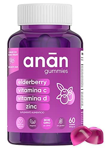ANAN ELDERBERRY | Las Primeras Gomitas de Elderberry Sin Azúcar con Vitaminas C, D y Zinc - Inmunidad y Bienestar - (1 Frasco, 60 Gomitas, Endulzadas con Monk Fruit, Veganas, sin Gluten)
