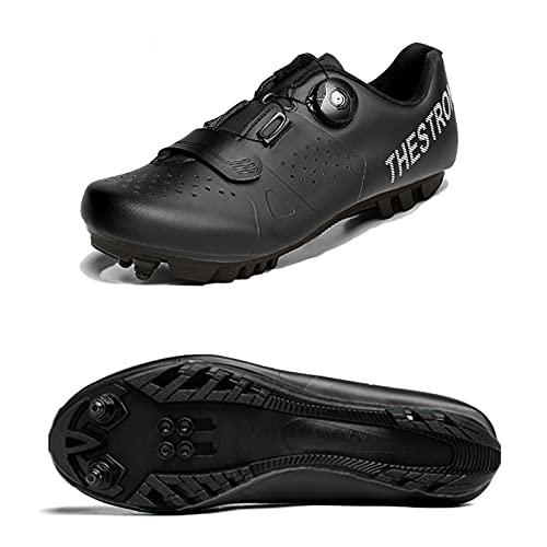 DSMGLSBB Zapatillas De Ciclismo, MTB Zapatillas De Deporte Deportivo Al Aire Libre SPD Raíz Soporte De Bicicleta Auto-Bloqueo Transpirable Cómodo Ciclismo Interior Zapatos De Giro,MTB Black,45
