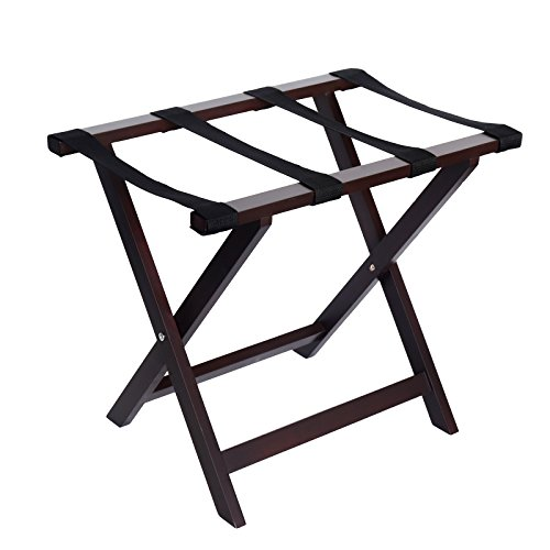 Cheap WELLAND Wood Folding Luggage Rack with Shelf