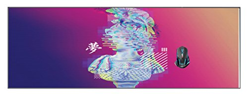 "Distorted Bust Vaporwave Design Wide XL Mouse Pad 33.25"" x 15.75"" Silicone Printed Mousepad Game Mat"
