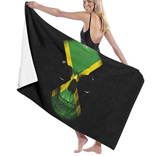 asdew987 Toallas de playa de Jamaica, diseño de calavera de la bandera de Jamaica, toallas de baño para adolescentes, niñas y adultos, toalla de viaje de 81 x 127 cm
