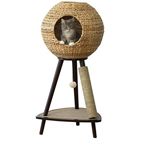 "Sphere Scratch Post Cat Tree Furniture 44"" Kitty Freestanding Luxury Bed Kitten Scratching Pet Gifts"